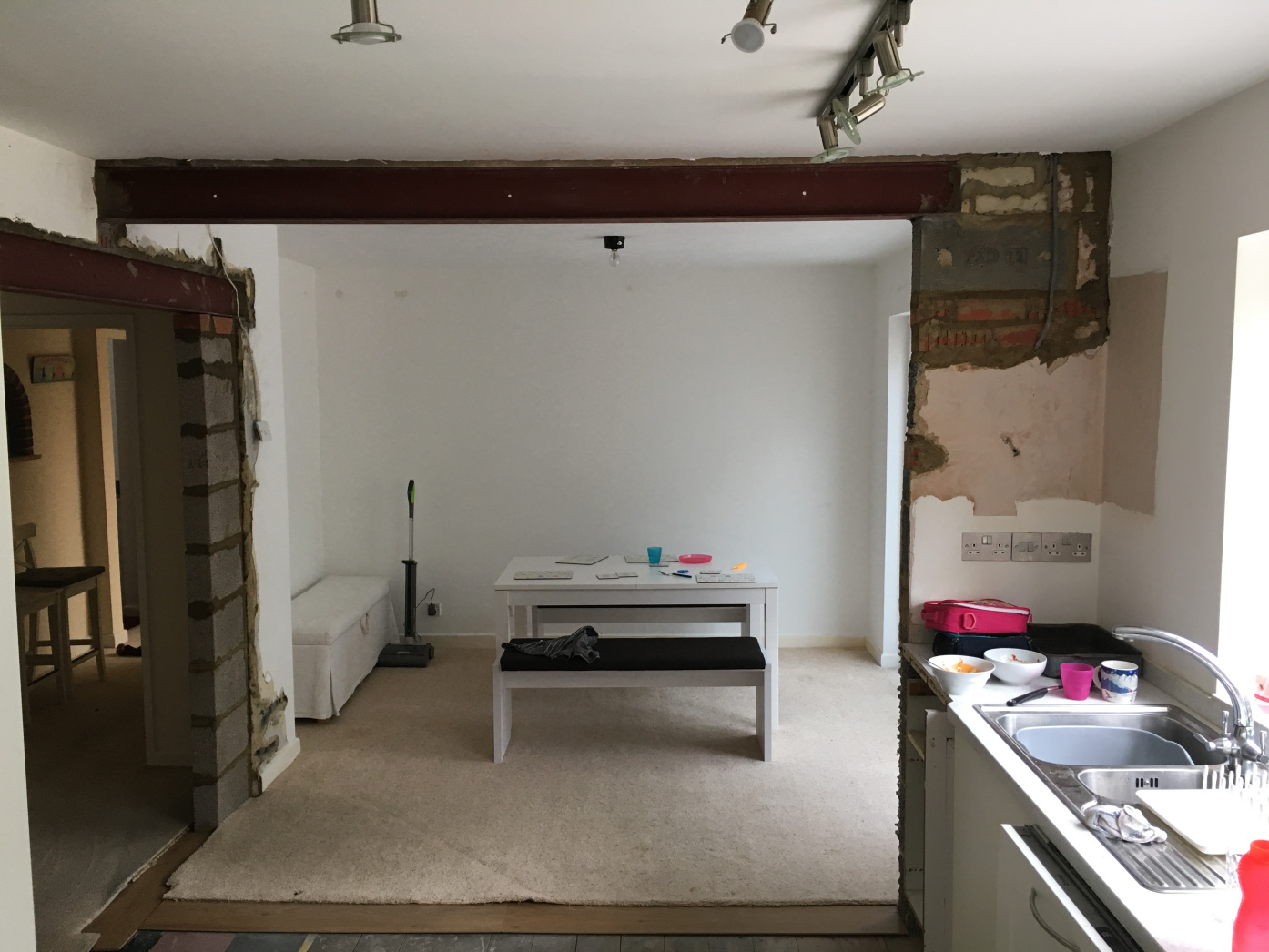 Internal load bearing wall knock through with steel supports, Wimborne