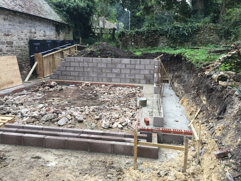 Side extension with retaining wall and underpinning, Dorchester
